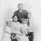 "Oscar Anderson with his wife, Jean ""Elizabeth"" Anderson, and their three young children, (left-right) Ruth, Vincent, and Maurice."