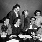 Cook Inlet Historical Society's first officers and directors - standing (left- right) Ed Crittenden, Orah Dee Clark, Wiletta Matsen; seated (left-right) Vanny Davenport, Evangeline Atwood, Herb Hilscher, and Doris Phillips.  About 1955.