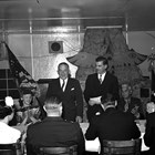Petitioning for Statehood.  Bob Atwood and Governor Ernest Gruening at the Aleutian Gardens Restaurant, Anchorage, January 10, 1947.