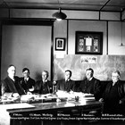 Burton Barndollar was a senior administrator for the Alaskan Engineering Commission, which built the Alaska Railroad.  This photograph shows him on the far right along with other Commission executives.