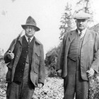 Burton H. Barndollar on the left with Dr. Howard Romig, early Anchorage physician, in 1932.