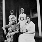 The Barnett family in front of their home on L Street between 5th and 6th Avenues, Anchorage, 1923.