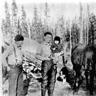 Father, son, and grandson: Henry, Fred, and Howard Bowman at homestead near what became the intersection of Bragaw Street and DeBarr Avenue, Anchorage.