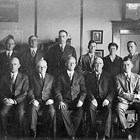 "Alaska Railroad management staff, 1929.  John Todd ""J.T."" Cunningham, Sr. is seated first on the left."