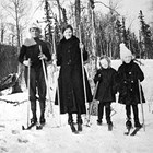 William, Emma, Sigrid, and Helve Enatti on a ski outing, ca. 1921.