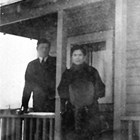 John and Ingeborg Erickson on the porch of their Anchorage home, 1920.