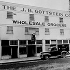 The J.B. Gottstein warehouse at 4th Avenue and G Street, Anchorage, ca. 1932.