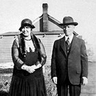 Bronwen and Evan Jones at their home in Anchorage, 1932.