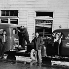 Frank and George Kimura and delivery crew, Snow White Laundrey, 5th and C Street, Anchorage, 1940.