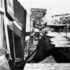 The store on 4th Avenue, Anchorage, in the wake of damages from the 1964 Alaska earthquake.