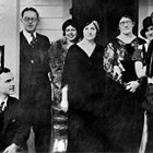 "Helen Larson's wedding party, 1933. Helen is at far right; her husband, Lawlor Seeley is at lower left. Raymond ""Ray"" or ""R.C."" Larson, far left and Ann Larson, center."