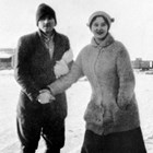 Martin and Mattie Leckvold at Matanuska, Alaska, 1916.