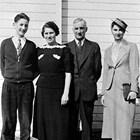 The Marsch family, Burt, Eleanor, Paul and Peggy, in front of their home at 7th Avenue and H. Street, Anchorage, 1936.