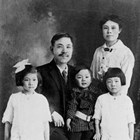 "The Mikami family, ca. 1917, prior to moving to Anchorage.  Goro ""George,"" Mine', Mary and Alice, and Harry."