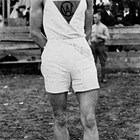 Werner Ohls, dressed for a marathon race, 1918.