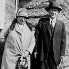 Matilda and Charles Olson in front of their home in Anchorage, 1925.