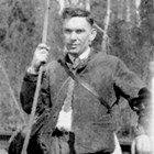 Emil Pfeil hunting with bow.