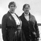 Bessie Quinton and sister Edith Knapp, Lake Spenard, 1922.