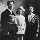 Father Edward, son Elmer (age two), daughter Evangeline (age five) and mother Jenny Rasmuson, in a 1911 family portrait.