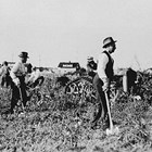 "Frank Reed and others, clearing a fire break at the Anchorage ""Park Strip,"" 1917."