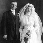 Carl Rivers (1882-1957) and his second wife, Hilma Lauren Rivers (1882-1970) on their wedding day in Brainerd, Minnesota, July 4, 1915.