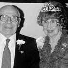 "William (""Bill"") Stolt and his wife Lily (""Lilian"") Rivers Stolt, 1965. They were crowned King and Queen Regents of the Anchorage Fur Rendezvous, 1965."