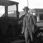 "Frederick ""Fred"" Schodde with his Ford Model T, one of the first automobiles in Anchorage, 1927."