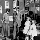 The Schodde family in front of the Green Front store, Anchorage, 1923.