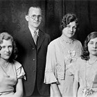"Frederick ""Fred"" Schodde, Marie Buhler Schodde, Antoinette Schodde (left), and Virginia Schodde (right)."