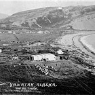 Aerial photo of Kanatak, Alaska, the oil town, 1920s.  The Schoddes opened their first store here in 1916.