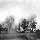 The Sperstad homestead cabin, 1928.  The area became the intersection of International Airport Road and Arctic Boulevard, in south Anchorage.