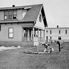The U.S. Marshal's office and family quarters, 4th Avenue and F Street in Anchorage, where the Stasers lived, 1923-1933.