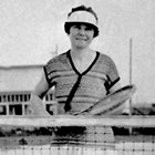 Barbara Staser, after winning a tennis singles competition, 1925.