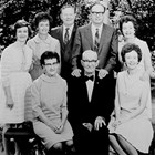 Aline and Louis Strutz, front, with their four daughters and two sons, at their 50th wedding anniversary, 1970. At the time the couple had twenty-six grandchildren, sixty-two great-grandchildren, and seven great-great grandchildren.