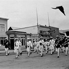 The Anchorage Band marching on 4th Avenue, Anchorage, 1938.