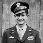 "Floyd H. Truesdell ( 1919-1943).  He was a U.S. Army first lieutenant and pilot with the 422nd Bombardment Squadron, U.S. Army Air Forces, on the B-17F Flying Fortress ""Eager Eagle,"" when he was killed in a mid-air collision with a Royal Air Force Bristol Beaufighter over England, August 31, 1943."