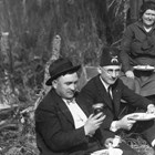 Daniel O. Kennedy Jr. at a Shriner's picnic in the Anchorage area, possibly Lake Spenard, in the mid 1930s. Organizations like the Shriners, the Elks, the American Legion, Rotary, and the Pioneers of Alaska provided social activities and community service in small towns like Anchorage, and were a link to life in the rest of the United States.