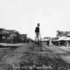 The figure on the ladder has been thought to be Sydney Laurence.  Alberta Pyatt (nee Bouthillier) worked as an assistant to Sydney Laurence, but it is not clear which photographs were taken for his photography business, the Sydney Laurence Company, or under contract with the Alaskan Engineering Commission (AEC).