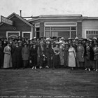 While Colonel Mears was building the Alaska Railroad, his wife, Jane, organized the women of Anchorage into the Anchorage Woman's Club, which spearheaded efforts to have Anchorage's first school built.  She may be the seventh woman from the left in the front row.