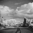Anchorage 4th Avenue, ca. 1950, looking east, with the First National Bank sign on the right.
