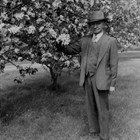 James Delaney standing next to one of his prized crabapple trees that grew on his house lot in downtown Anchorage.
