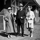 "Austin E. ""Cap"" Lathrop with Lulu Fairbanks and Eva McGowan in 1930."