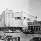 "The 4th Avenue Theatre on the day it opened in 1947, with a line of people waiting to enter the building.  The first movie shown was ""The Jolson Story."""