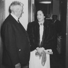 "Austin E. ""Cap"" Lathrop with Miriam Dickey, his close business associate and the secretary-treasurer of the Midnight Sun Broadcasting Corporation, which he owned.  Photograph, ca. 1945-1950."