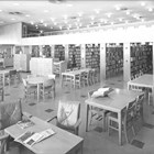 Interior view of the Z. J. Loussac Library shortly after it opened in 1955.  The library remained open until 1981, when it was demolished to make room for the William A. Egan Civic and Convention Center.  A new library was built off 36th Avenue in midtown Alaska that was also named the Z. J. Loussac Library.