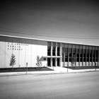 Exterior view of the Z.J. Loussac Library shortly after it opened in 1955.  Z.J. Loussac's donation of much of his fortune to the Loussac Foundation resulted in the construction of this then state-of-the-art public library in downtown Anchorage, a source of great pride for the community.