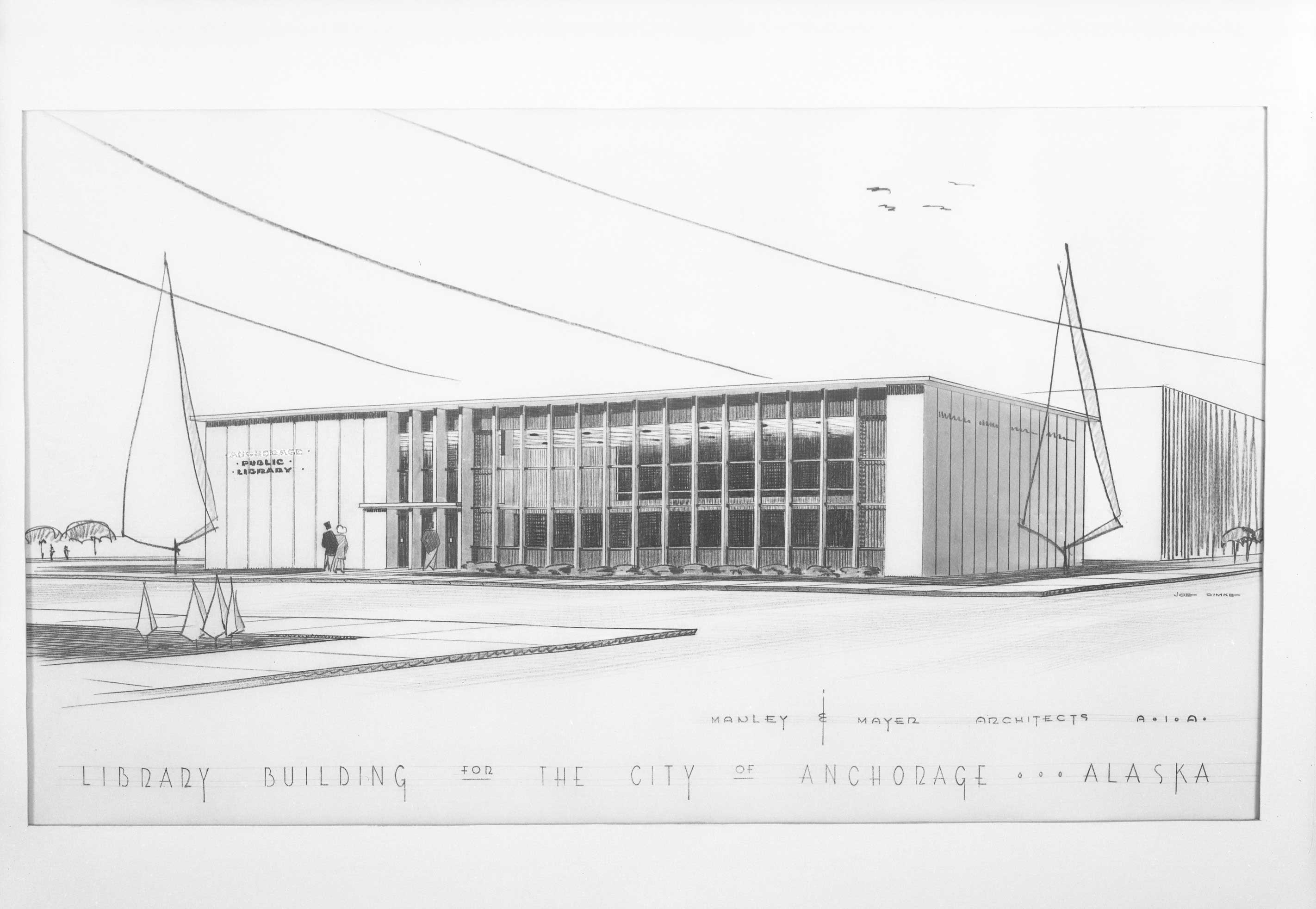 Manley william a alaska history architectural drawing of the original zj loussac library 1953 opened in 1955 malvernweather Images