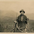 Jane Mears was ready to cope with new environments, first in Panama and then in Alaska. She hunted alongside her husband, Frederick, and is shown here with a caribou she had shot.
