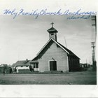 "The original Holy Family Catholic Church in Anchorage, built in 1915 on two lots purchased by parishioner Anthony ""Tony"" J. Wendler at one of the original land auctions.  The church was twenty-four by forty-eight feet, with a wooden frame and ornamental concrete block walls.  Adjacent to it on the left was the tiny rectory where the priest would live."