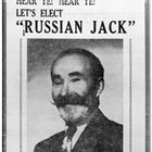 "Newspaper advertisement (Anchorage Daily Times, February 14, 1948) urging people to vote for ""Russian Jack"" for king of the Fur Rendezvous Mardi Gras.  Although he lost, he was declared a prince of the event."